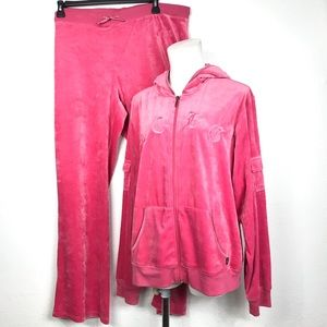 BCBG MAX AZRIA VELOUR PINK OUTFIT PANTS AND JACKET